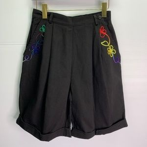 Vintage Shorts 90s High Waist Mom Pleated Bermuda